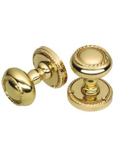 Mortice Door Knob Set - Georgian Style With Rope Design - Polished Brass