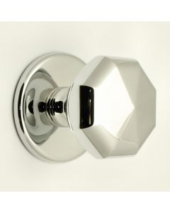 Octagonal Pattern Centre Front Door Knob - Polished Chrome