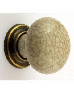Ivory Crackle Mushroom Shape Porcelain Knobs With Florentine Bronze Rose