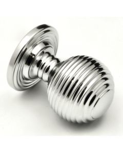 Queen Anne Style - Ringed Pattern Reeded Cupboard Door Knobs - 3 Sizes - Polished Chrome