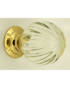 Clear Glass Pumpkin Shape Cupboard Knobs - 3 Sizes - With Polished Brass Rose