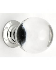 Clear Glass Ball Shape Cupboard Knobs - 3 Sizes - With Polished Chrome Rose