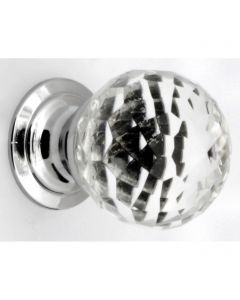Clear Faceted Shape Glass Cupboard Knobs - 3 Sizes - With Polished Chrome Rose