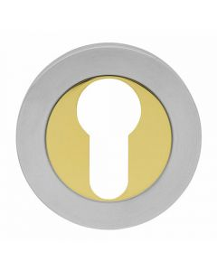 Euro Profile Escutcheon - Dual Finish - Zirconium Brass & Stainless Steel
