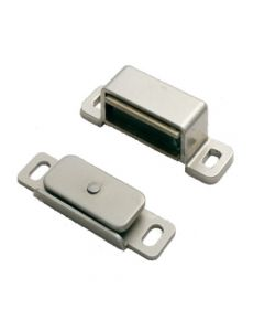 Strong Magnetic Catch For Cupboard Doors - 6kg Pull - Nickel Plated Silver Finish