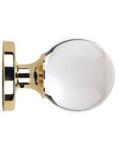 Ball Design Clear Glass Mortice Door Knobs - Polished Brass Rose