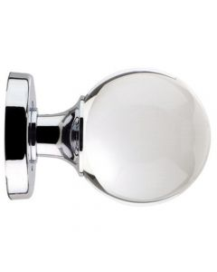 Ball Design Clear Glass Mortice Door Knobs - Polished Chrome or Satin Chrome Rose