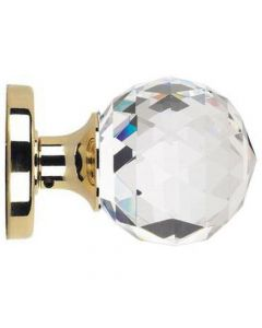 "Glass Mortice Door Knob Set - ""Cut"" Faceted Style - Polished Brass Rose"