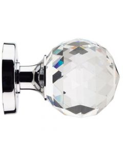 "Glass Mortice Door Knob Set - ""Cut"" Glass Style - Polished or Satin Chrome Rose"