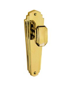 Charlston Range - 1930's Art Deco Style Mortice Door Knobs On Backplate - Polished Brass
