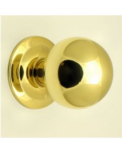 Modern Ball Shaped Centre Front Door Knob - Polished Brass