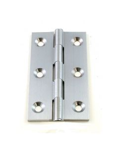 Small Satin Chrome Cabinet Hinges - 64mm x 35mm