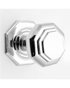 Octagonal Shape Centre Door Knob - Polished Chrome