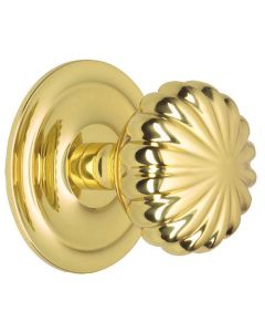 Peel Centre Front Door Knob - Polished Brass