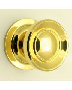 Victorian Style Centre Door Knob - Polished Brass