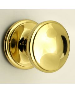 Princess Pattern Front Door Knob - Polished Brass