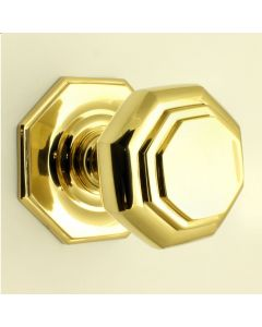 Octagonal Pattern Centre Door Knob - Polished Brass