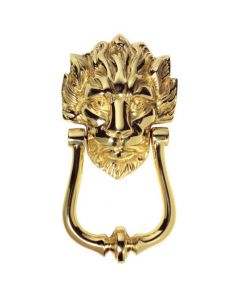 Number 10 Downing Street Style Lions Head Door Knocker - Polished Brass