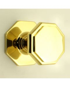 Octagon Shape Centre Door Knob - Polished Brass