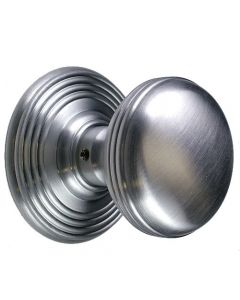 Ringed Pattern Mortice Knob Set - Satin Chrome