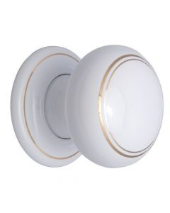 Door Knob Set - White Porcelain With Gold Line Detail