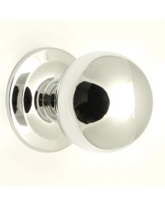 Modern Ball Shape Centre Front Door Knob - Polished Chrome