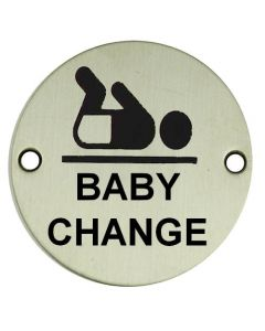 Baby Change - Circular Screw Fix Sign - Polished or Satin Stainless Steel