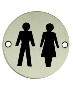 Unisex Symbol - Circular Screw Fix Sign - Polished or Satin Stainless Steel