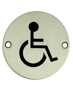 Disabled Symbol - Circular Screw Fix Sign - Polished or Satin Stainless Steel