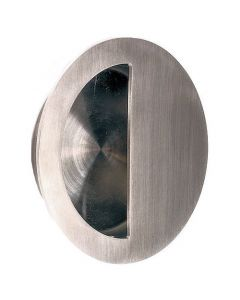 Circular Flush Pull Handle With Semi Circle Half Moon Grip - Satin Stainless Steel