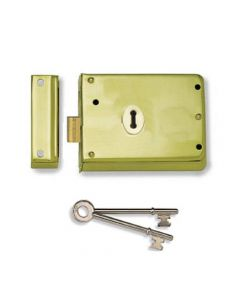 Surface Mounted Rim Deadlock - Polished Brass