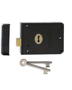Surface Mounted Rim Deadlock - Black With Brass Surrounds