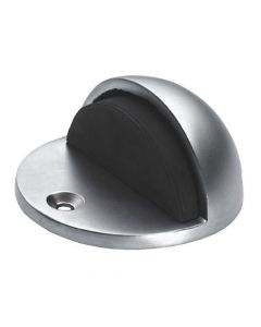 Oval Shape Hooded Door Stop Floor Mounted - Satin Chrome