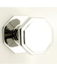 Octagon Shape Front Door Knob - Polished Chrome