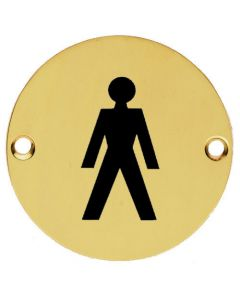 Male Symbol - Circular Screw Fix Sign - Polished Brass