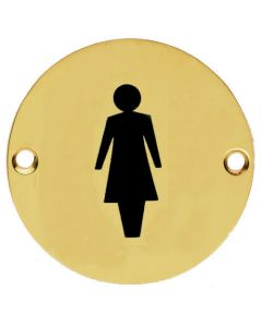 Female Symbol - Circular Screw Fix Sign - Polished Brass