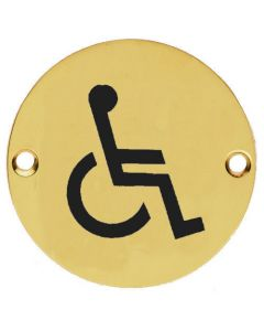 Disabled Symbol - Circular Screw Fix Sign - Polished Brass