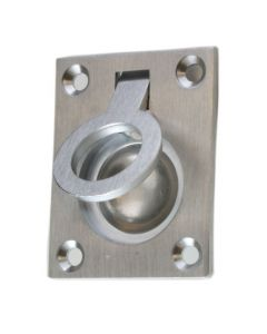Flush Fitting Rectangular Ring Pull - Available In Two Sizes - Satin Chrome