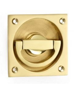 Flush Fitting Ring Style Operational Door Handle - Polished Brass