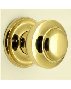 Traditional Victorian Centre Door Knob - Polished Brass