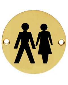 Unisex Symbol - Circular Screw Fix Sign - Polished Brass
