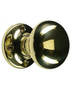 Unsprung Hollow Traditional Mortice Knob - Polished Brass