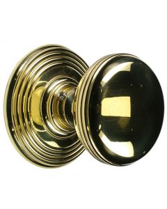 Ringed Pattern Mortice Knob Set - Polished Brass