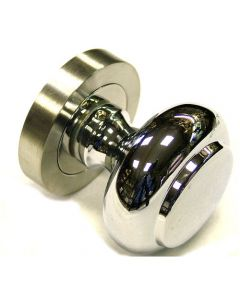 Dual Finish Door Knob - Satin Stainless Steel & Chrome