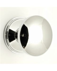 Modern Plain Style Domed Centre Door Knob - Polished Chrome