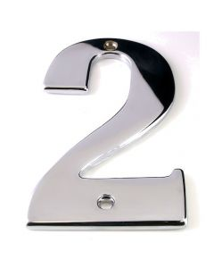 Large Modern Style - Bold Design House Numbers - 89mm - Polished Chrome