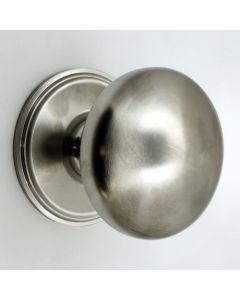 Modern Plain Style Centre Front Door Knob - Satin Chrome