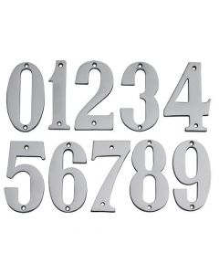 Large Modern Style - Bold Design House Numbers - 89mm - Satin Chrome