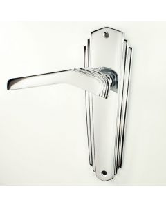 Waldorf - Art Deco Door Handle Suite - Polished Chrome