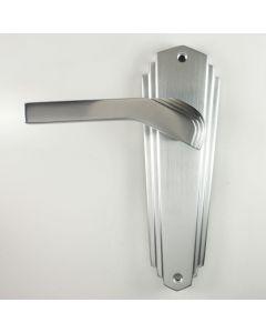Waldorf - Art Deco Door Handle Suite - Satin Chrome